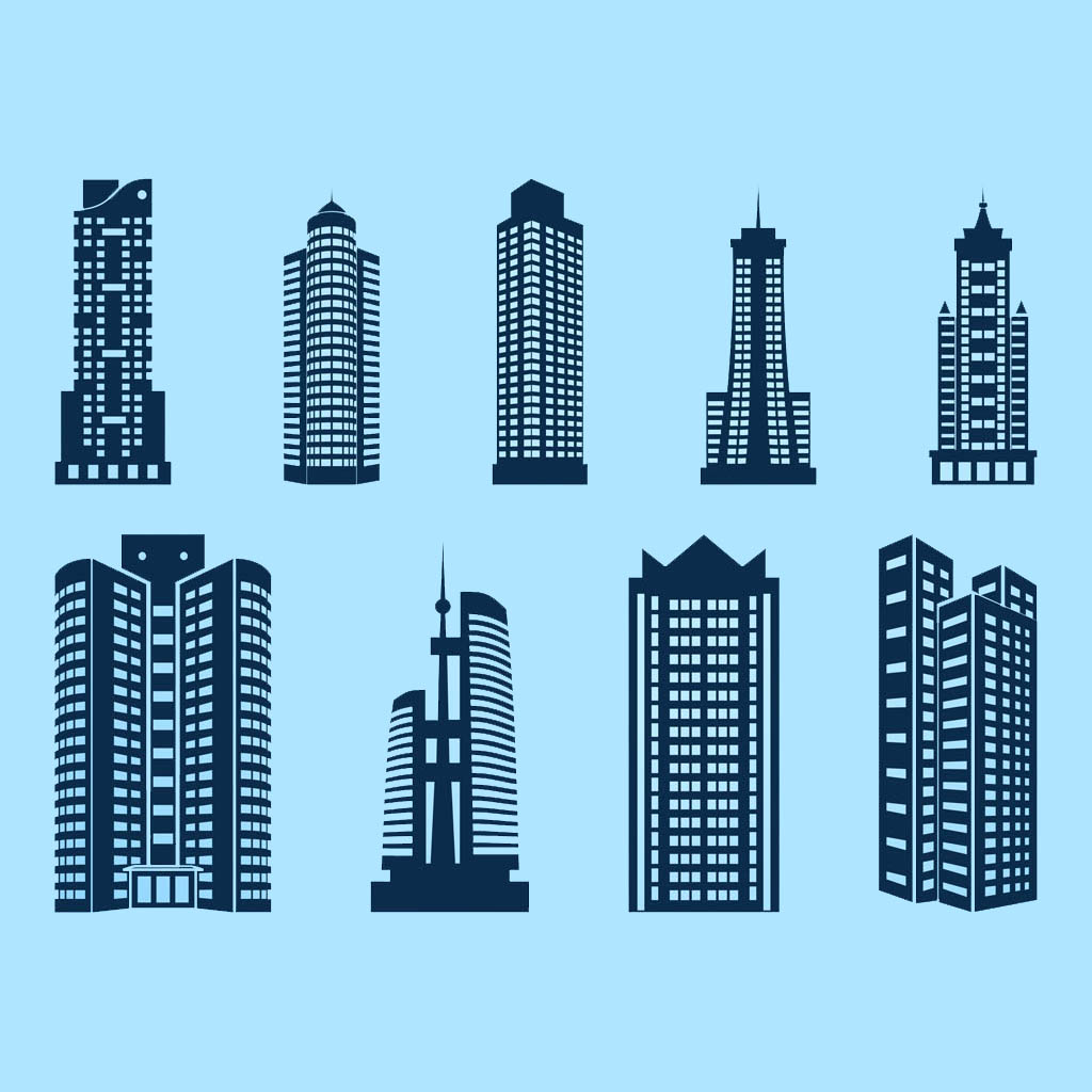 vector drawings of major world skyscrapers